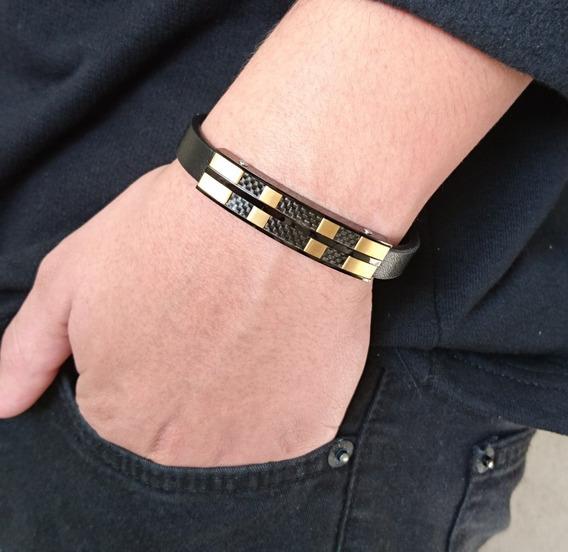 Bracelete Pulseira Masculina Couro Legítimo Banhada Ouro 18k