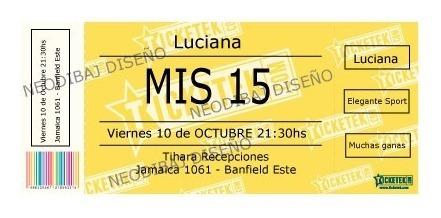Invitacion Tipo Ticketeck Infantiles, 15 Años, Casamientos.