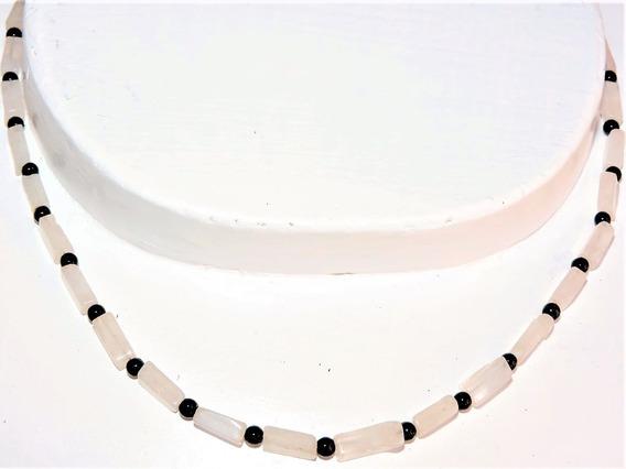 Collar Piedra Turmalina Neg Cuarzo Rosa (sunil) +2 Pulseras