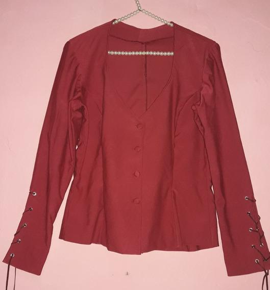 Camisa De Diseño En Gamuza Elastizada Mujer Talle L