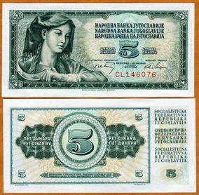 Iugoslávia 5 Dinara 1968 P. 81b Fe Cédula - Tchequito