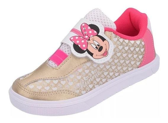 Tênis Infantil Personagens Minnie Dourado E Pink Meninas
