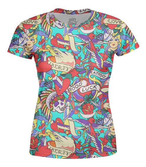 Camiseta Baby Look Feminina Tatuagens Clássica Estampa Total