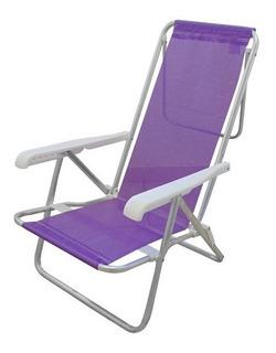 Reposera Plegable De Aluminio 8 Posiciones Playa Camping