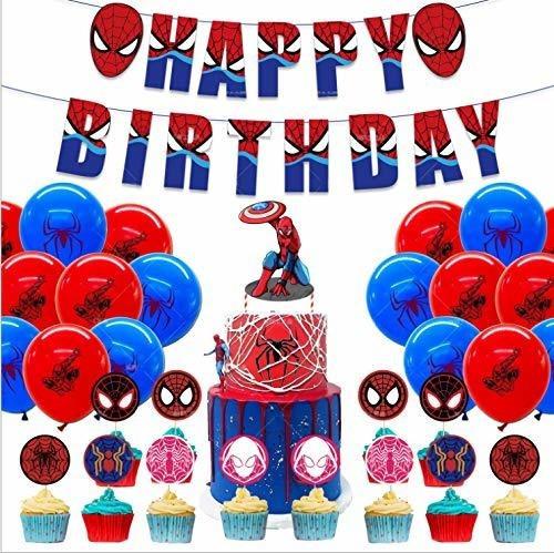 47 Decoraciones Para Fiesta De Cumpleaños De Spiderman, Panc