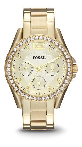 Relógio Feminino Fossil Riley Com Brilhante (original)