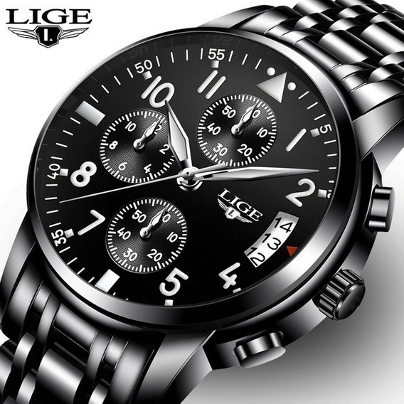 Relógio Masculino Lige 9825 Luxo Funcional Na Caixa Envio Já