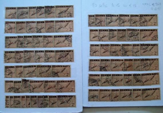 Suiza Aereo Yvert 15 Lote De 80 Sellos Estampillas Eu. 960