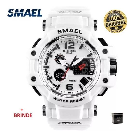 Relógio Esportivo G.chock Smael 1509 Branco Militar Tático