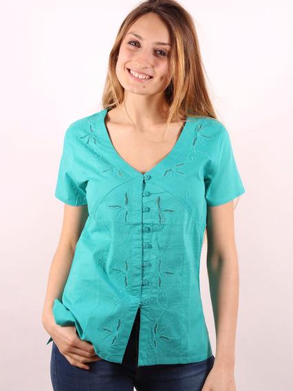 Blusa Mujer Bordada Manga Corta Camisa Importada #60315