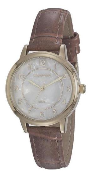 Relógio Feminino Mondaine Dourado Pulseira Couro Original