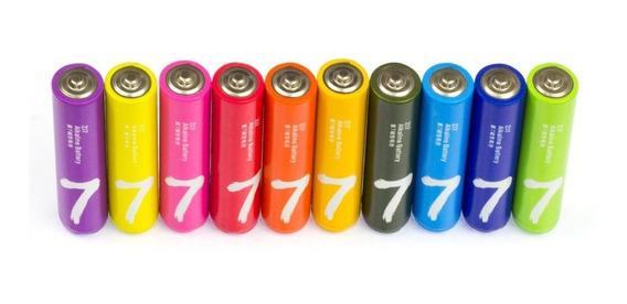 Kit De 10 Pilhas Xiaomi Rainbow Aaa Coloridas
