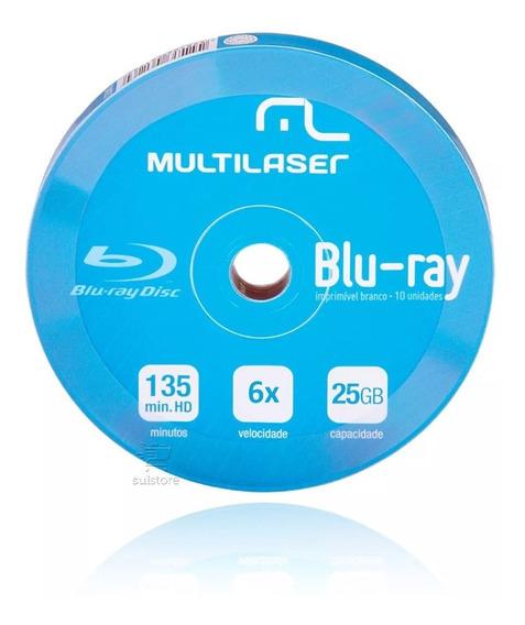 10 Bluray Multilaser Dv057 Printable Virgem 25gb Novo