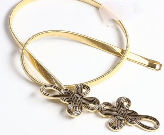 Lançamento Lindo Cinto Feminino De Metal Dourado