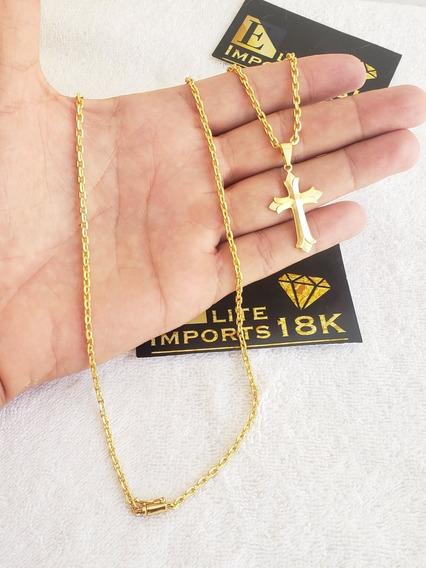 Cordão E Pingente Cadeado 2mm Banhado A Ouro 18k Luxo