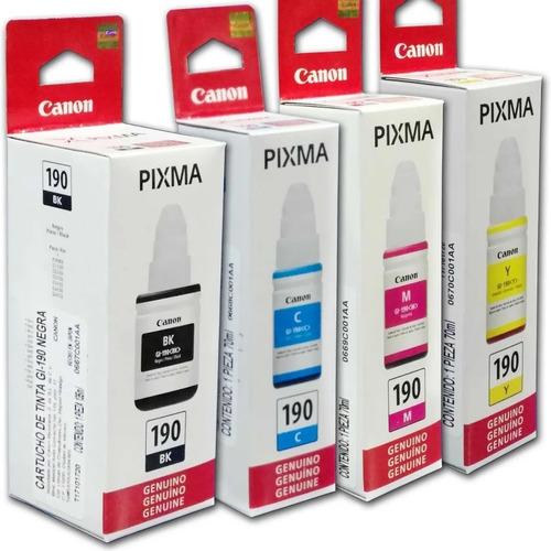 Imagen 1 de 1 de Combo 4 Botella Tinta Canon Gi 190 Negro Cian Magenta Amaril