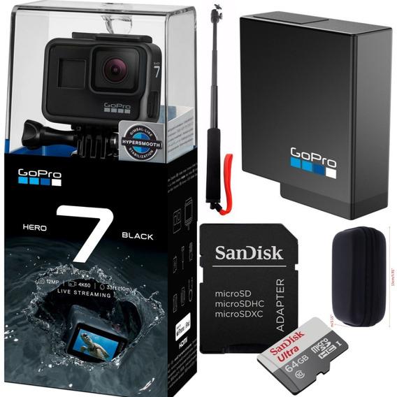 Gopro Hero7 Black+cartão64gb+bateria+bastão De Selfie + Case
