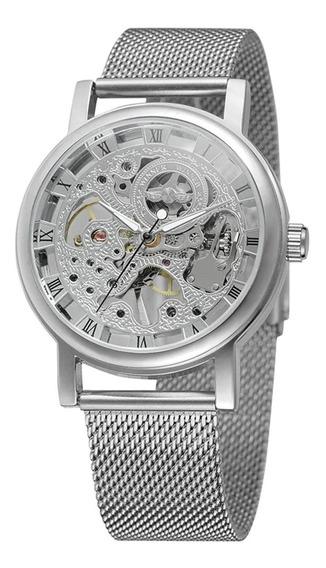 Reloj Esqueleto Mecanico Para Hombre Winner Acero Inoxidable