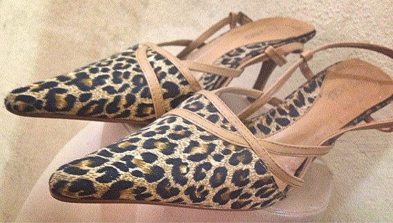 Sapato Bico Fino Onça Bege Salto Médio Spot Shoes 38