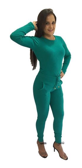 Conjunto Feminino Calça E Blusa Malha Canelado Riban Moletom