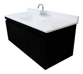 Mueble Gabinete Para Baño De Lujo Volado 124x55cm Con Lavabo