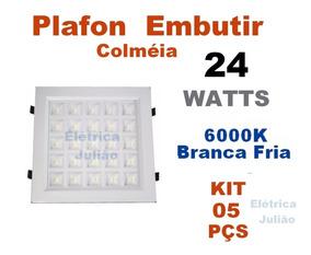 Kit C/ 5 Plafon Embutir Colmeia Downlight 25w Led