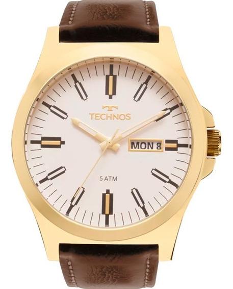 Relógio Technos Dourado Pulseira Couro 2305az/2b Branco
