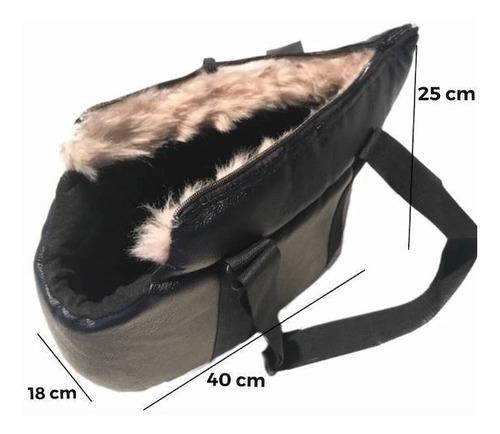 Bolsa Para Cachorro Gato Transporte Pet Corino Preta Soft
