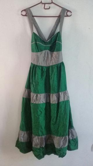 Vestido Fiesta Gris Verde Largo