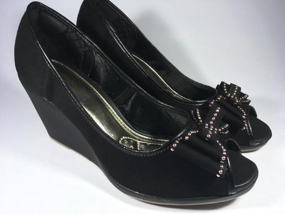 Sapato Feminino Pepe Too Preto Azaleia Leve Anabela Laço