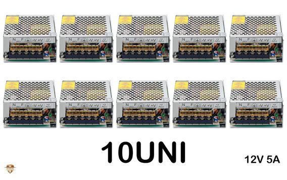 Kit 10 Fonte Chaveada 5a 60w 12v P/fita De Led Som Automotiv