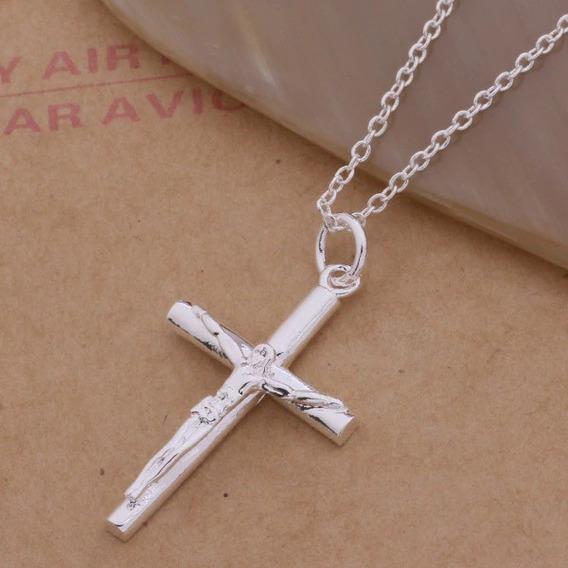 Corrente Colar C/ Pingente Crucifixo Prata 925