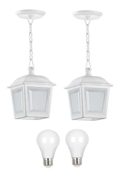 2 Un Pendente Externo Colonial Branco Ac991 + Led 7w Stella