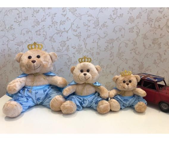 3 Ursos Príncipes G, M, P - Bege/azul Claro Estampa Coroa