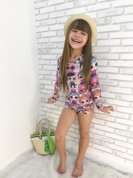 Biquini Infantil Blusa Com Proteção Uv Biquini Da Lol