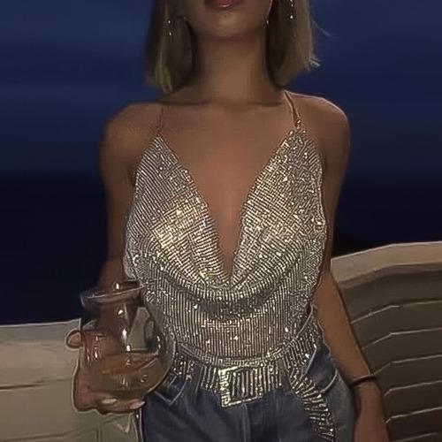 Cropped Blusa Brilhosa De Manta Luxo Com Decote Profundo