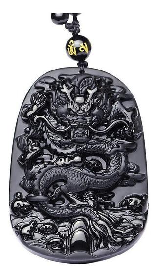 Colar Dragão Obsidiana Negra Pedra Natural
