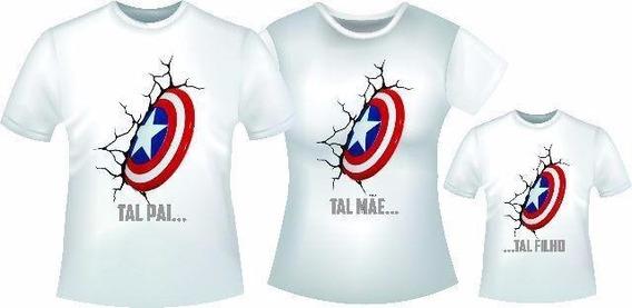 Camiseta Kit Família Capitão América