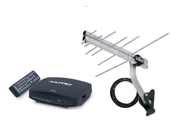 Kit Conversor Digital + Antena Externa Completa Aquário