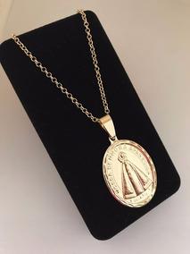 Medalha Oval Grande De Nossa Senhora Aparecida Com Cartier