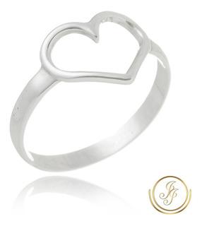 Promoção : Anel Coração Em Prata 925 Feminino Reforçado