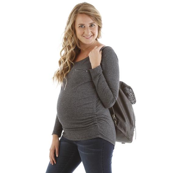 Set Maternal 2 Prendas Jean Chupin Elastizado + Remera Mom