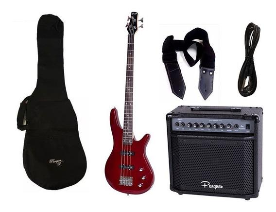 Combo Bajo Electrico Parquer Jazz Bass Rojo Amplificador 20