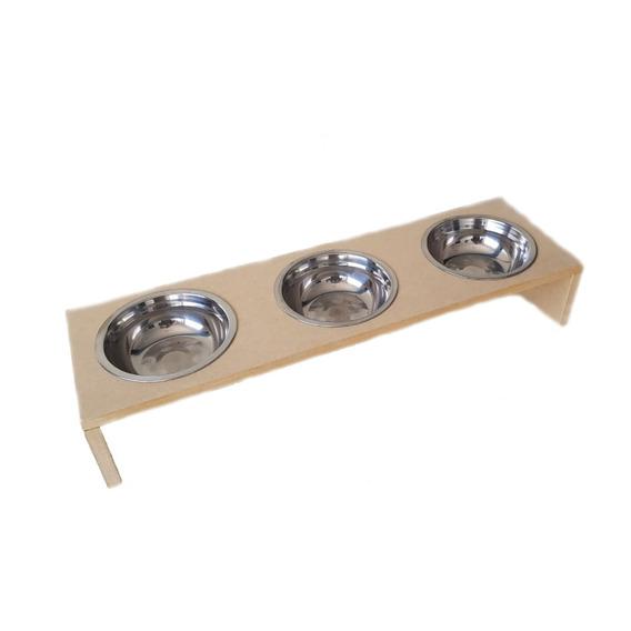 Comedouro Com 4 Potes Inox450ml P Cachorro E Gato Mdf 15mm