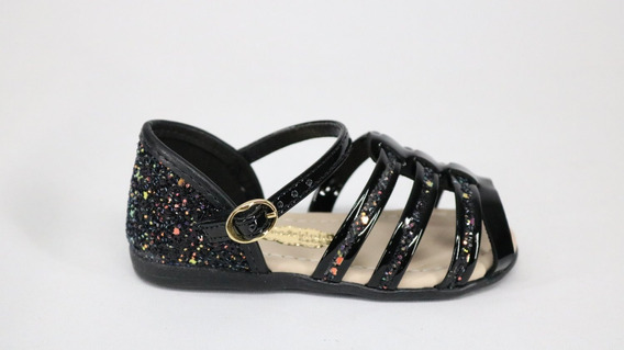 Sandália Molekinha Bebê Glitter Fivela Preto - 20 - Preto