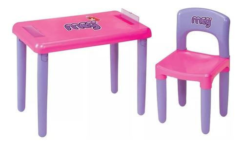 Mesa Mesinha Infantil Com Cadeira E Estojo Meg Magic Toys