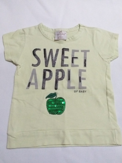 Camiseta Infantil Up Baby Feminina Sweet Apple Tam 3 Anos