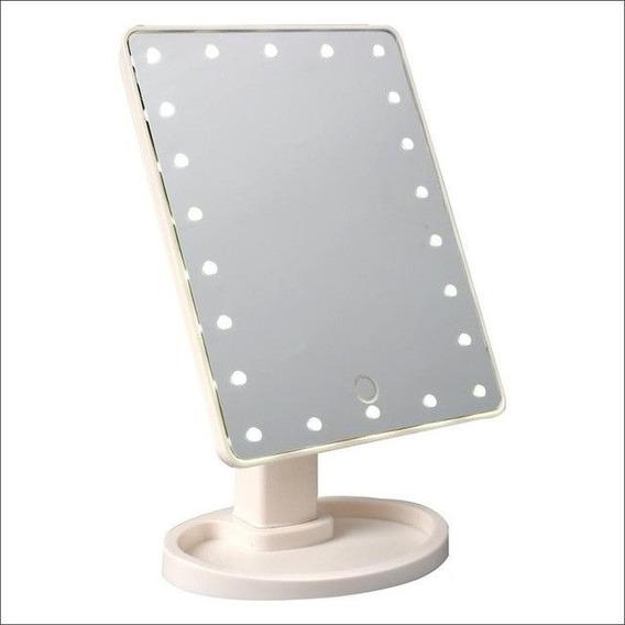 Espelho De Mesa Luz 22 Leds P/ Maquiagem Portátil C/ Aumento