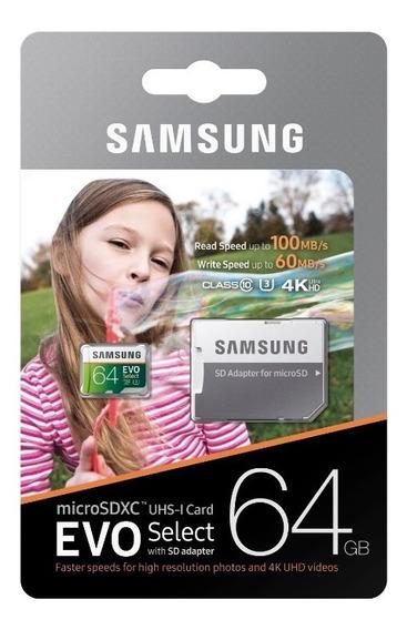 Cartão Micro Sd Samsung 100mb/s 64gb U3 4k Go Pro Drone