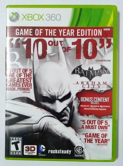 Batman Arkham City Goty Edition Xbox 360 Mídia Física